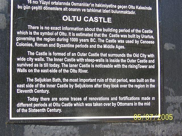Information about the Oltu Castle